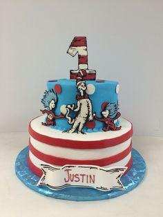 Dr. Seuss first birthday cake! #cake #firstbirthday #seuss