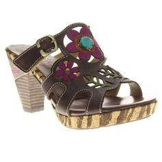 L'Artiste by Spring Step Women's Nevis Slip On High Heel Slide Sandals Brown #SpringStep #Slides