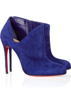 It has to be Louboutin Blue Suede Shoes, Blue Boots, Suede Ankle Boots, Heeled Boots, Bootie Boots, Suede Booties, Ankle Booties, Suede Heels, Christian Louboutin Sale
