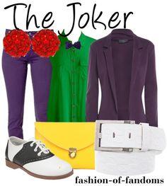 Fandom Fashion the joker fav. Nerd Fashion, Fandom Fashion, School Fashion, Fashion Women, Female Joker Costume, Harley Costume, Character Inspired Outfits, Disney Inspired Outfits, Disney Style