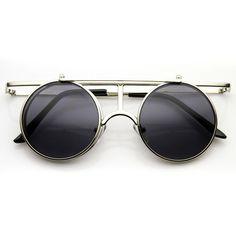 2f85b3701f46 Steampunk Vintage Inspired Crossbar Flip Up Metal Sunglasses 8972 (€12) ❤  liked on