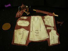 12th Dollhouse Miniature Handmade DRESSMAKERS SET- MATERIAL MACHINE PATERN BURG