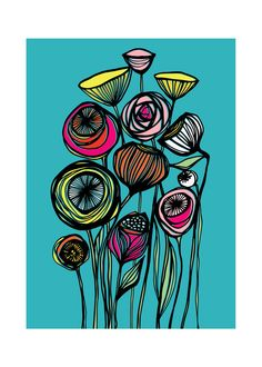 Now available to purchase | Alcanena Floral (in Turquoise tease) by Gill Eggleston for Minted