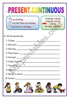 Present continuous for beginners - worksheet. English Activities For Kids, Learning English For Kids, English Lessons For Kids, English Language Learning, English Vocabulary List, English Grammar For Kids, English Worksheets For Kids, English Teaching Materials, Teaching English