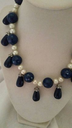 Check out this item in my Etsy shop https://www.etsy.com/listing/184903268/pearl-necklace-blue-necklace-cream