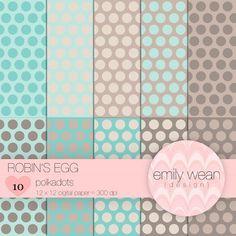 Digital Paper – Robbin's Egg – Polkadots Background