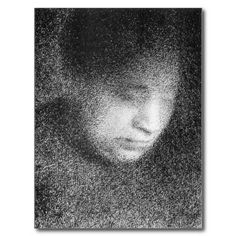 Shop Seurat's mother by Georges Seurat Postcard created by BestArtGifts. Georges Seurat, Postcard Size, Just Do It, Smudging, Paper Texture, Backdrops, Illustration, Artwork, Prints