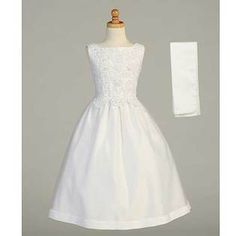 -Lito White Beaded Tea Length First Communion Dress Shawl Girls   110.23