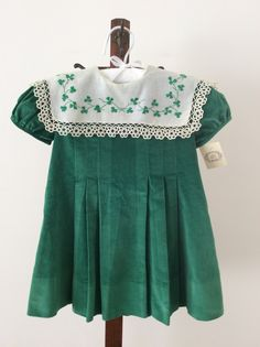 This dress is vintage Mela Wilson.It was made 30 years ago for my daughter and hand embroidery for St. Patrick Day. Hope everyone enjoys a little luck of the Irish tomorrow.
