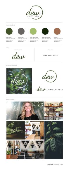 "Sarah Wilton, an AVEDA hair stylist in Squamish BC, came to me after deciding to follow her dreams and build her own Aveda Hair Salon & retail store. ""Dew"" was her brand name and was inspired by using deep hues of forest greens with accents of copper – elements she would be using in the interior design of her studio. She was drawn to photos of natural textures, specifically featuring plants of the Pacific Northwest."