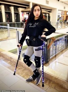 Woman on crutches Crutches, Lonely Heart, Braces, Adidas Jacket, Medical, Sporty, Matte Painting, Club, Legs