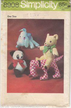 Stuffed Dogs Panda Teddy Bear Vintage 1972 Simplicity Sewing Pattern 8908 Uncut