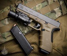 Glock 17 Gen. 4 in Flat Dark Earth w/ Surefire x300 Light, Grip Force Adapter