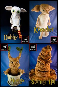 Harry Potter Crochet Dobby Kreacher Sorting hat Mandrake