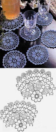 """Képtalálat a következőre: """"filet crochet coasters"""" Crochet Doily Patterns, Crochet Diagram, Crochet Chart, Crochet Squares, Thread Crochet, Crochet Dollies, Crochet Flowers, Crochet Lace, Vintage Crochet"""