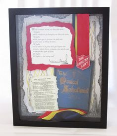 "Volunteer Recognition Gift.  The Salvation Army, William Booth speech ""While Women Weep,"" William Booth song ""O Boundless Salvation.""  Custom 11 x 14 shadow box art - mixed media, art papers, embroidery, 3D mounting"