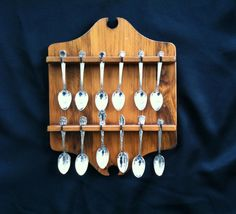 Vintage Souvenir Demitasse Silver Spoon Collection in Vermont Wood Specialties Display Rack Shabadashery. Antiques and Collectibles in Troy, New York.
