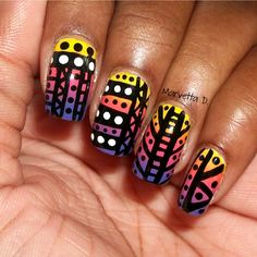 Tribal on a gradient!  #nails #nailart #tribal #aztec #gradientnails #ombrenails