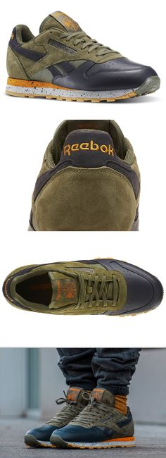 #Reebok #Classic #Leather #SM #Hunter #Green #Orange