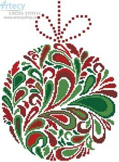 Colourful Christmas Bauble 3 cross stitch chart - Artecy Cross Stitch