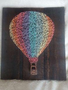 Rainbow Hot Air Balloon String Art by JDavisCreations on Etsy