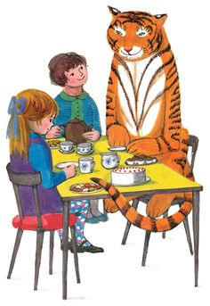 The Tiger Who Came to Tea - This is a unique silkscreen edition, published by Illustration cupboard Gallery and produced with Judith Kerr, to celebrate her birthday. Date of publication: Book author: Judith Kerr Tiger Illustration, Beatrix Potter, Museum Of Childhood, Vintage Children's Books, Children's Literature, Childrens Books, Illustrators, Book Art, Drawings