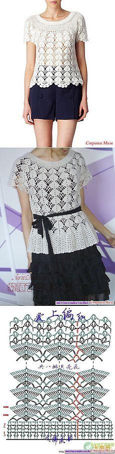 Ажурный топик или платье Кайли Миноуг на его основе - Вяжем вместе он-лайн - Страна Мам