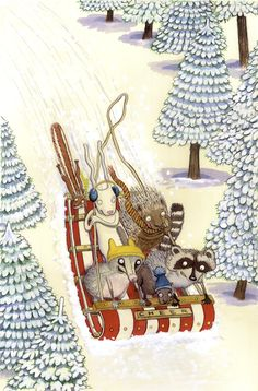 JULIA SHAHIN COLLARD, illustrator-Animals, Nature, sled, anthropomorphic, winter, trees, and Snow