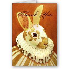 Victorian Rabbit Thank You Card