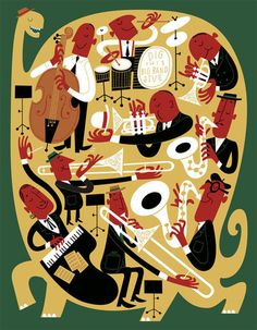 Paul Rogers - For an article in The Playboy Jazz Festival program about the non-extinction of big bands. Cuadros Pop Art, Drums Wallpaper, Big Band Jazz, Jazz Poster, Jazz Art, Music Illustration, Retro Cartoons, Mid Century Art, Wow Art
