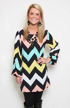 Happy Chevron Dress, $59.50