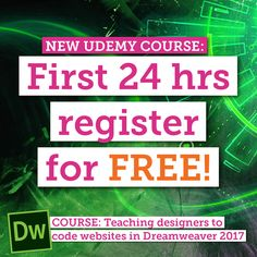 Coupon Code: PINTEREST_FREE  Available to you for the first 24hrs.  :: We'd love a review too :) It helps us help you.... more! . . #dreamweaver #freecourse #coding #html #css  #freedreamweaver #udemy #auckland #newzealand #onlinetraining #onlinecourses #dublin #sydney #muse #adobe #creativecloud #dreamweaver2015 #website #webdesign #websites #web #graphicdesigner #design #graphicdesign