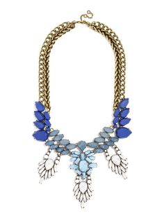 This stunning bib has lots of movement--fringe detail adds drama to the silhouette, while cool matte blues come together in an ornate marquise-lined collar. #baublebar #swatstyle #statement #necklace