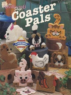 Coaster Pals, The Needlecraft Shop Home Decor Plastic Canvas Pattern Booklet 913309