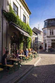size: Photographic Print: Outdoor Cafe in the Pedestrian Zone in Aarhus, Denmark by Michael Runkel : Aarhus, Outdoor Cafe, Outdoor Seating, Danish Furniture, Pedestrian, Denmark, Framed Artwork, Street View, Scene