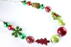 Long Christmas Bubblegum Necklace Holiday by NancysCrystalFantasi