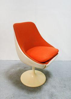 Vintage Lusch Erzeugnis Egg Pod Tulip Leather Swivel Lounge Chair Designed by Joe Colombo - White Orange West Germany Desk Office Loft Shell by WestEstShop on Etsy