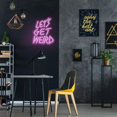 Neon Room Decor, Neon Sign Bedroom, Wall Decor, Cheap Neon Signs, Neon Wall Signs, Neon Word Lights, Wall Lights, Apartment Party, Studio Apartment