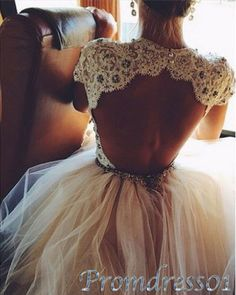 2015 prom dresses by #promdress01, vintage cute open back beaded creamy white lace tulle short prom dress for teens, ball gown, evening dress, wedding dress #promdress