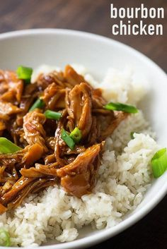 This bourbon chicken is made simple in the slow cooker. It's full of flavor and perfect for serving over rice. You'll love this slow cooker recipe.