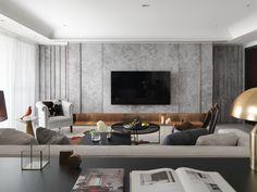 客廳、大理石、電視牆、格柵、切割、貴氣、客廳設計、主空間設計、室內設計、沙發擺設