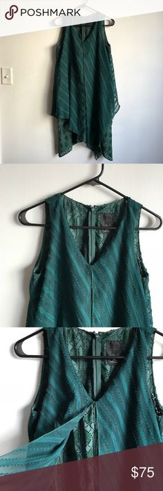 Anna Sui Sleeveless Green Dress Beautiful green dress with asymmetrical over-lay. This is in great condition but does need a slip! Tag says 0 but it runs large. Anna Sui Dresses Mini
