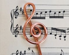 Treble Clef Copper Hair Stick, Shawl Pin, Scarf Pin, Bun Holder, Hair Pin, Music Jewelry, Musician, Women, Knitting, Long Hair Accessories