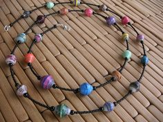 Long Uganda Bead Necklace by creativefreedom on Etsy Paper Bead Jewelry, Paper Beads, Beaded Jewelry, Beaded Necklace, Beaded Bracelets, Necklaces, Bead Crafts, Jewelry Crafts, Paper Crafts