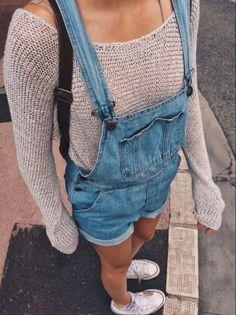 Image via We Heart It #denim #fashion #knit #overalls #street #style #sweater #tan #tumblr #cute