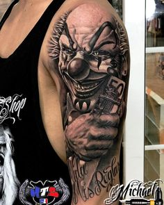 Payaso Black and Grey – Tattoo World Evil Clown Tattoos, Scary Tattoos, Dope Tattoos, Dream Tattoos, Badass Tattoos, Arm Tattoos For Guys, Skull Tattoos, Body Art Tattoos, Hand Tattoos