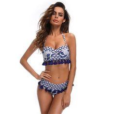3975055dbb E TOILE Blue Tassel Vintage Print Two Piece Women s Swimsuit