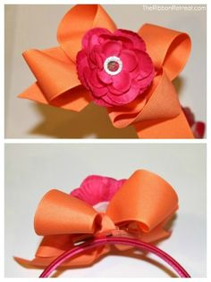 """""""Twisted Boutique Bow"""" http://www.theribbonretreat.com/blog/twisted-boutique-bow-tutorial-removable-flower.html"""