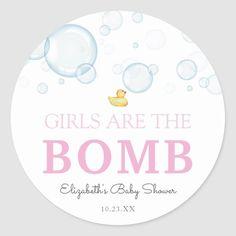 Bath Bomb Girl Baby Shower Rubber Duck Classic Round Sticker