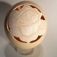 Carved Rose Ostrich Egg by artophile on Etsy, $75.00